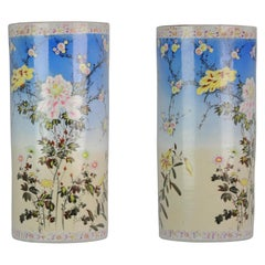 Large Antique Japanese Porcelain 20th Century Hat Stand Vase with Flowers Marked