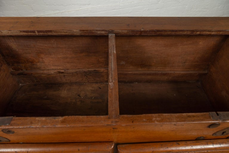Large Antique Javanese Teak Wood Blanket Chest on Wheels with Iron Nailheads For Sale 5