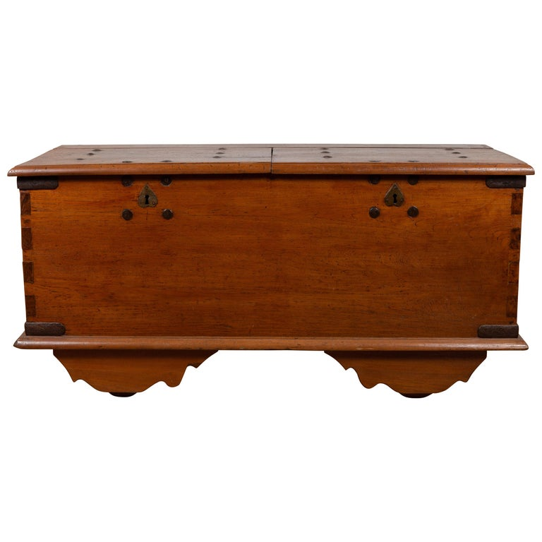 Large Antique Javanese Teak Wood Blanket Chest on Wheels with Iron Nailheads For Sale
