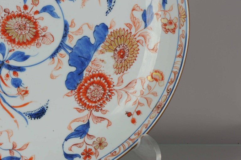 Large Antique Kangxi Lotus and Chrysanthemum Plate Imari Color Chinese For Sale 4