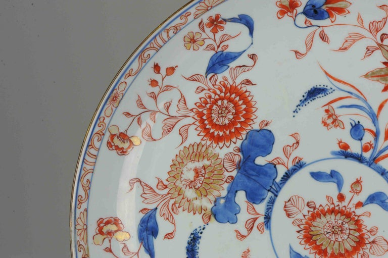 Large Antique Kangxi Lotus and Chrysanthemum Plate Imari Color Chinese For Sale 5