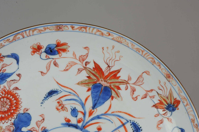 Large Antique Kangxi Lotus and Chrysanthemum Plate Imari Color Chinese For Sale 3