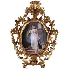 Large Antique KPM School Porcelain Portrait Plaque of Queen Louise, circa 1890