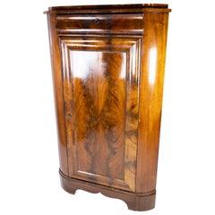 Large Antique Late Empire Corner Cabinet of Mahogany, 1840