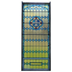 Large Leaded Stained Glass Alpha and Omega Architectural Window, circa 1900