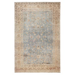 Large Antique Light Blue Persian Khorassan Rug. Size: 10 ft 9 in x 16 ft 10 in