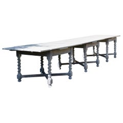 Large Antique Limed Oak Dining / Refectory Table in Carolean Style 12-Seat