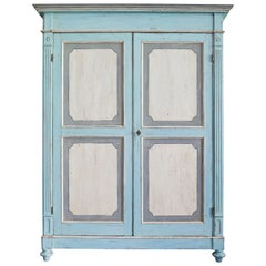 Large Antique Lombardian Cabinet in Painted Solid Larch Wood, 1840s