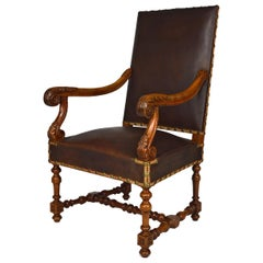 Large Antique Louis XIII Style Leather Armchair in Carved Walnut, circa 1860