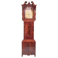 Large Antique Mahogany 8 Day Painted Face Longcase Clock
