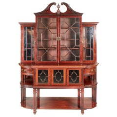 Large Antique Mahogany Astragal Glazed Breakfront Bookcase