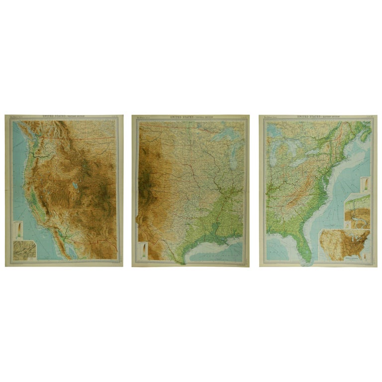 Great maps of Central USA, the West, the North East and the East.  Unframed  Original color  By John Bartholomew and Co. Edinburgh Geographical Institute  Published, circa 1920  The measurements given below are for one section.  Free