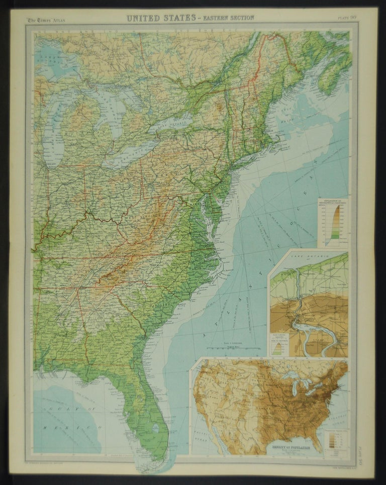 Large Antique Map of the United States, in 4 Sections In Good Condition In St Annes, Lancashire