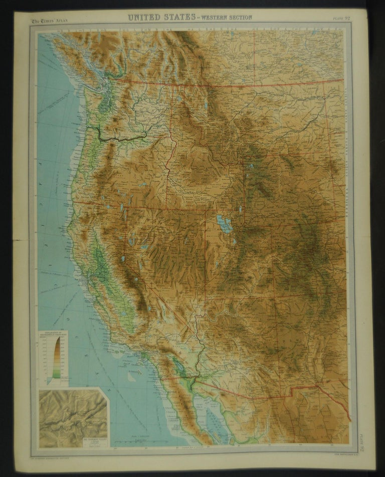 Great maps of Central USA, the West, the North East and the East.  Unframed  Original color  By John Bartholomew and Co. Edinburgh Geographical Institute  Published circa 1920  The measurements given below are for one section.  Free
