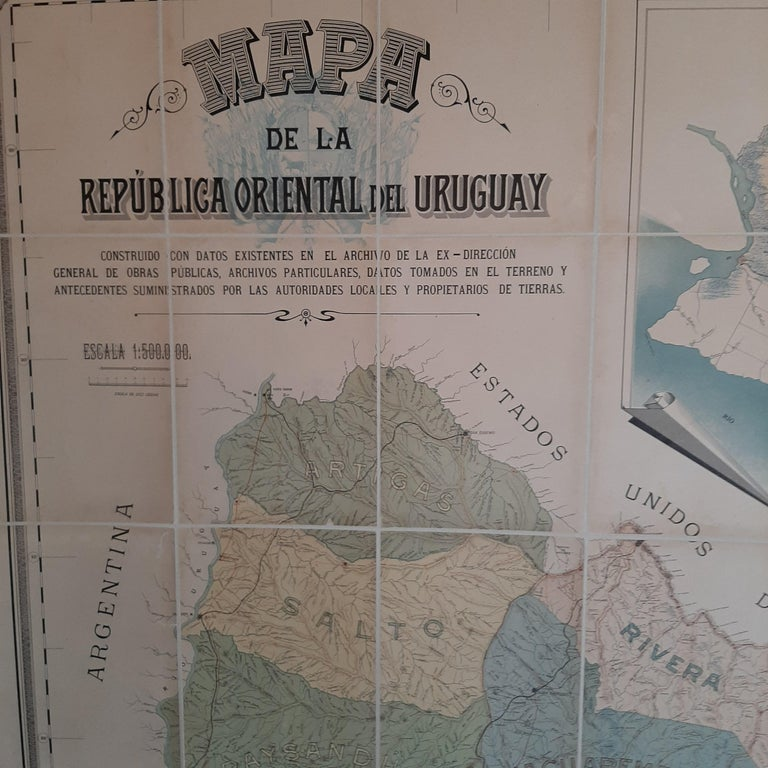 Antique map titled 'Mapa de la Republica Oriental del Uruguay'. Large and detailed folding map of Uruguay. This monumental map depicts all of Uruguay with unprecedented accuracy and detail. Impressively, it serves the multiple roles of being an