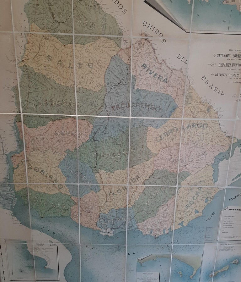 Large Antique Map of Uruguay, 1903 In Good Condition For Sale In Langweer, NL