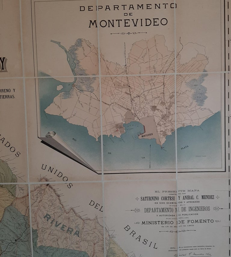 20th Century Large Antique Map of Uruguay, 1903 For Sale