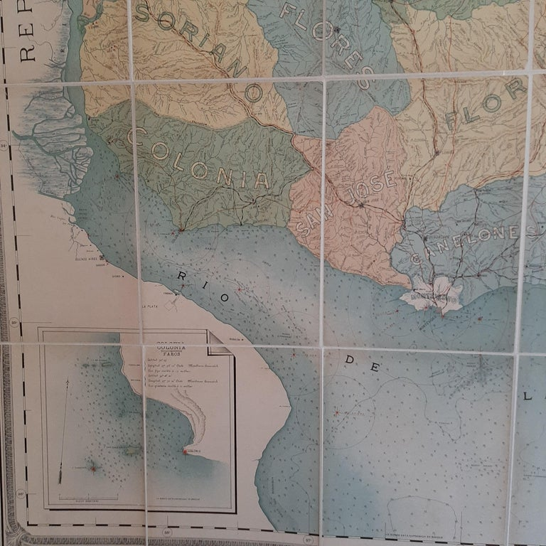 Paper Large Antique Map of Uruguay, 1903 For Sale