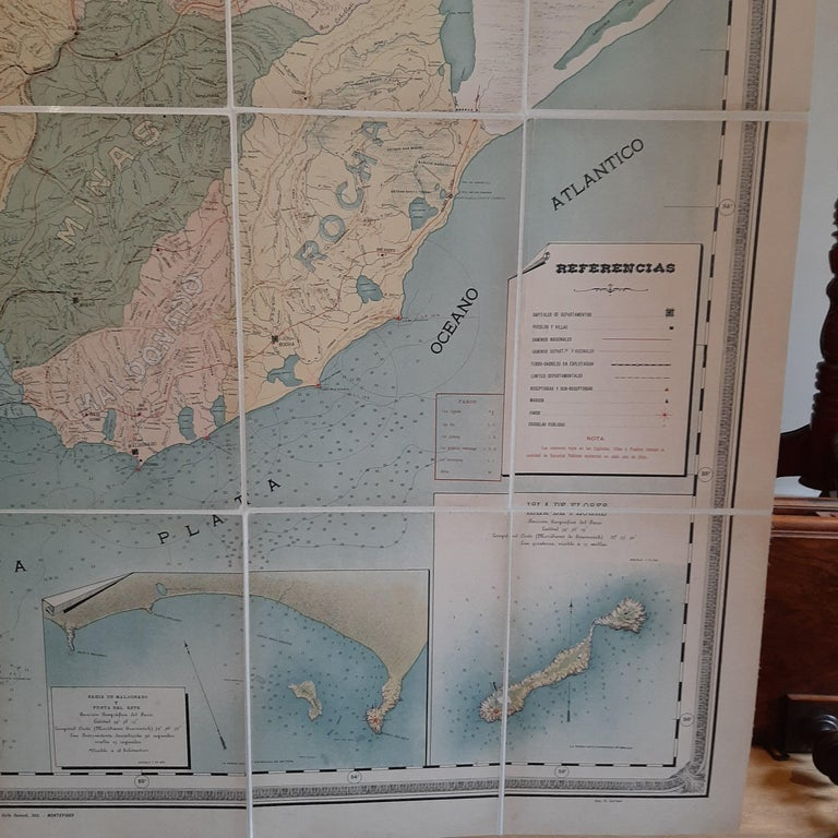 Large Antique Map of Uruguay, 1903 For Sale 1