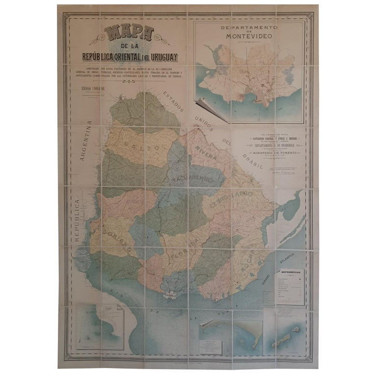 Large Antique Map of Uruguay, 1903 For Sale