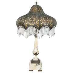 Large Antique Marble Lamp with Brass and Crystal Shade