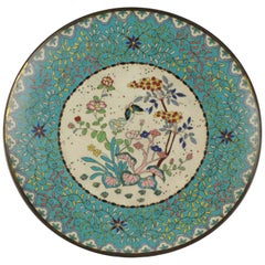 Large Antique Meiji Japanese Bronze Cloisonne Serving Plate