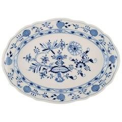 "Large Antique Meissen ""Blue Onion"" Serving Dish in Hand Painted Porcelain"