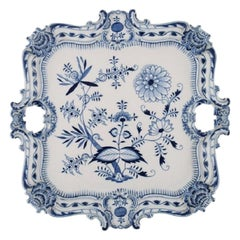"""Large Antique Meissen """"Blue Onion"""" Serving Tray in Hand Painted Porcelain"""