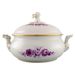 Large Antique Meissen Lidded Tureen in Hand Painted Porcelain