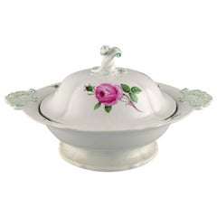 Large Antique Meissen Lidded Tureen in Hand Painted Porcelain with Pink Roses