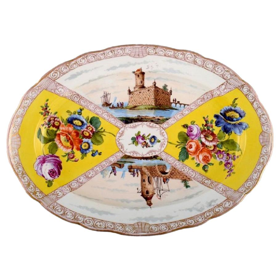 Large Antique Meissen Serving Dish in Hand-Painted Porcelain, 19th C