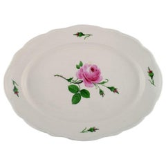 Large Antique Meissen Serving Dish in Hand Painted Porcelain with Pink Roses