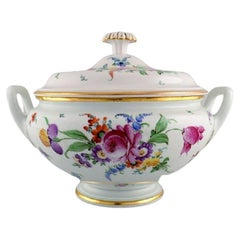 Large Antique Meissen Soup Tureen in Porcelain with Hand-Painted Flowers