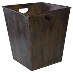 Large Antique Metal Waste Basket