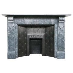 Large Antique Mid Victorian Corbelled Grey Bardiglio Marble Chimneypiece