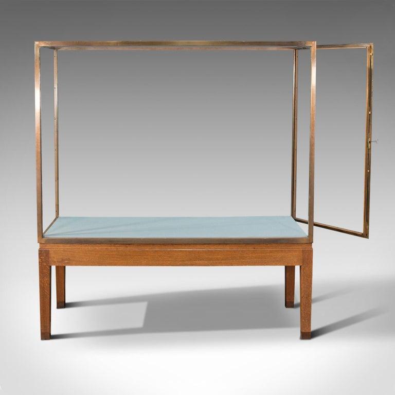 British Large Antique Museum Showcase, English, Bronze, Oak, Display Cabinet