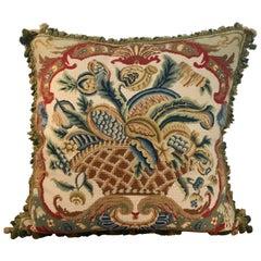 Large Antique Needlepoint Pillow I