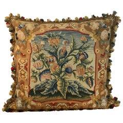 Large Antique Needlepoint Pillow II