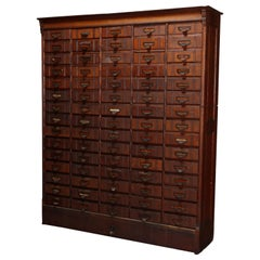 Large Antique Oak 75 Drawer Oak Country Store or Library Filing Cabinet
