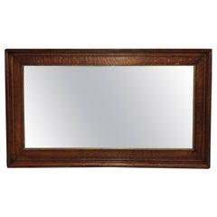 Large Antique Oak Beveled Mirror