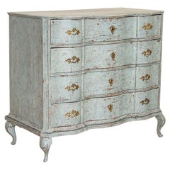 Large Antique Oak Chest of Drawers with Blue Painted Finish, Sweden