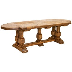 Large Antique Oak Dining Table with Trestle Base, France