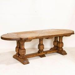 Large Antique Oak Dining Table With Trestle Base, France