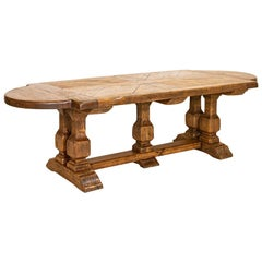 Large Antique Oak French Refectory Table Dining Table with Trestle Base