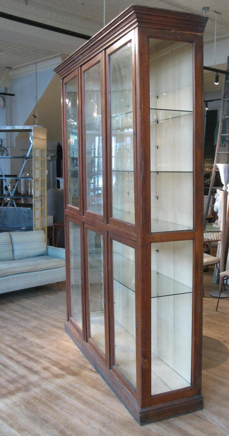 American Large Antique Oak and Glass Display Cabinet For Sale