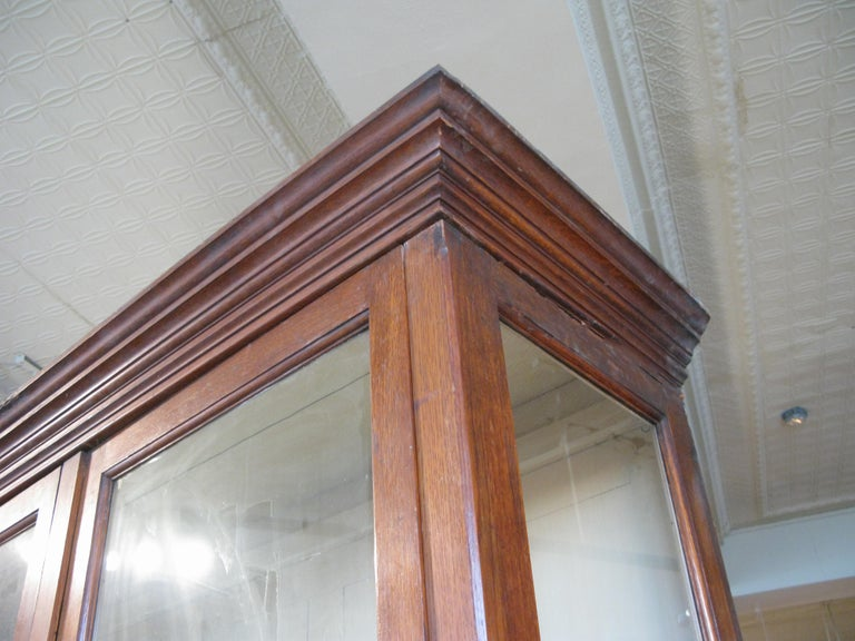 Large Antique Oak and Glass Display Cabinet In Good Condition For Sale In Hudson, NY
