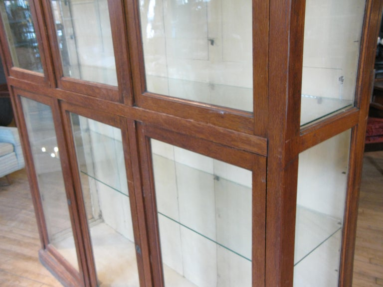 Large Antique Oak and Glass Display Cabinet For Sale 1
