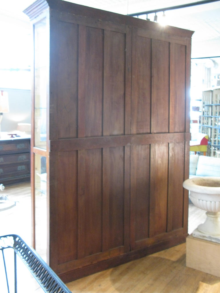 Large Antique Oak and Glass Display Cabinet For Sale 2