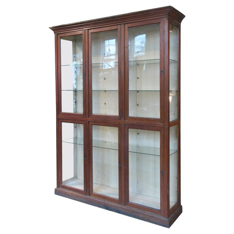Large Antique Oak and Glass Display Cabinet For Sale