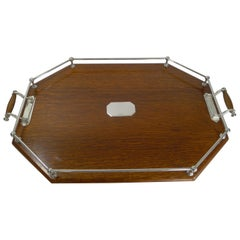 Large Antique Oak and Silver Plated Drinks / Cocktail Tray